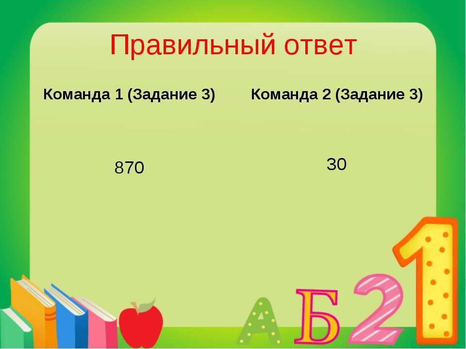 Правильный ответ Команда 1 (Задание 3) 870 Команда 2 (Задание 3) 30