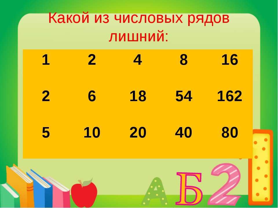 Какой из числовых рядов лишний: 1 2 4 8 16 2 6 18 54 162 5 10 20 40 80