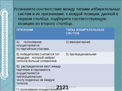 Установите соответствие между типами избирательных систем и их признаками: к ...