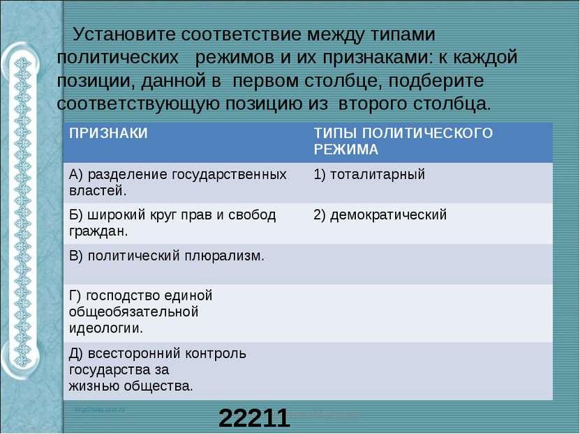 Установите соответствие между типами политических режимов и их признаками: к ...