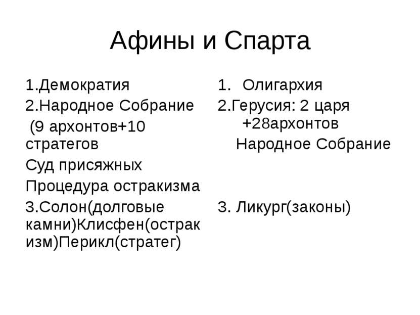 Афины и Спарта 1.Демократия 2.Народное Собрание (9 архонтов+10 стратегов Суд ...