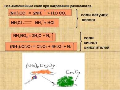 Все аммонийные соли при нагревании разлагаются. (NH4)2CO3 = 2NH3 + H2O CO2 NH...