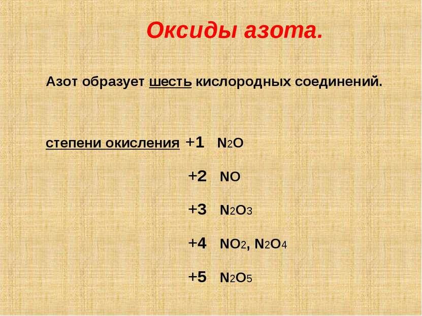 Оксиды азота. Азот образует шесть кислородных соединений. степени окисления +...