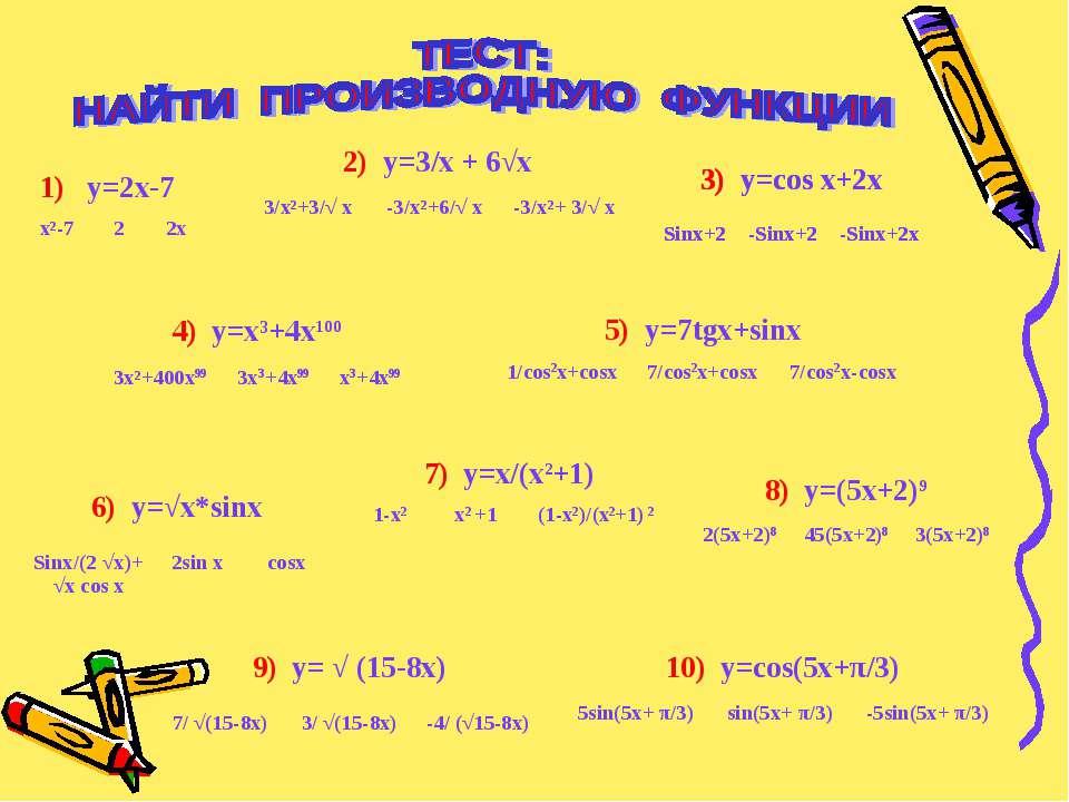 2) y=3/x + 6√x 3/x²+3/√ x -3/x²+6/√ x -3/x²+ 3/√ x 4) y=x³+4x100 3x²+400x99 3...