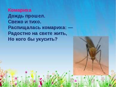 Комариха Дождь прошел. Свежо и тихо. Распищалась комариха: — Радостно на свет...