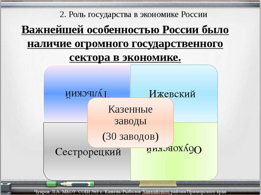 2. Роль государства в экономике России Важнейшей особенностью России было нал...