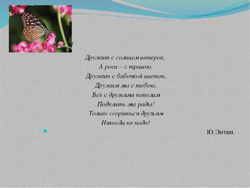 Про дружбу Дружит с солнцем ветерок, А роса – с травою. Дружит с бабочкой цве...