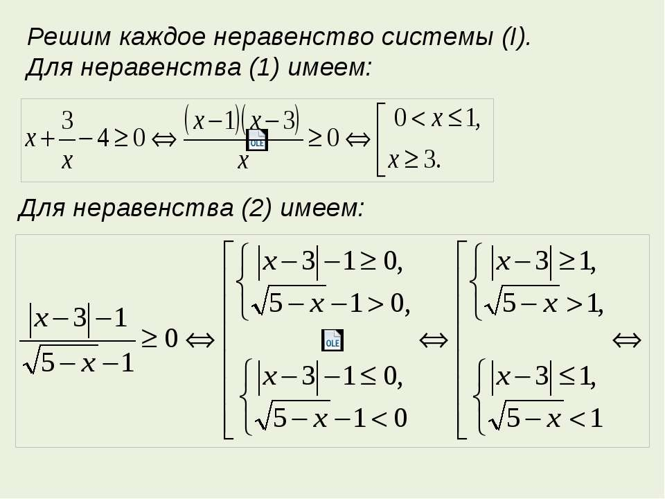 Решим каждое неравенство системы (I). Для неравенства (1) имеем: Для неравенс...