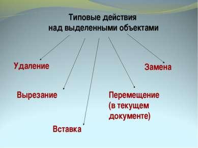 Типовые действия над выделенными объектами Удаление Вырезание Вставка Перемещ...