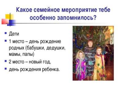 Какое семейное мероприятие тебе особенно запомнилось? Дети 1 место – день рож...