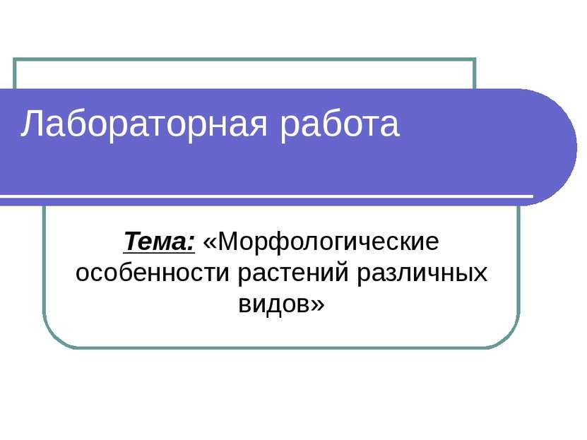 Лабораторная работа Тема: «Морфологические особенности растений различных видов»