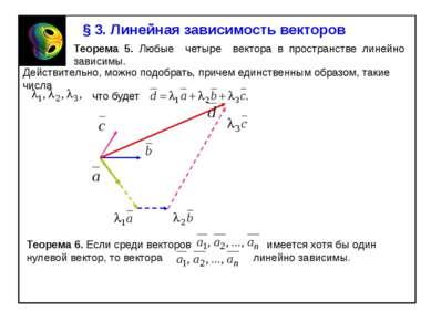 § 3. Линейная зависимость векторов Теорема 5. Любые четыре вектора в простран...