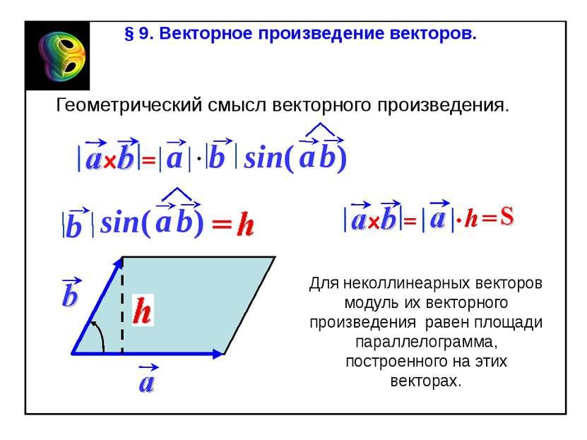 § 9. Векторное произведение векторов. Геометрический смысл векторного произве...