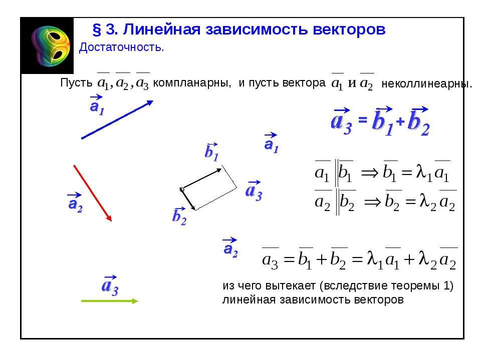 § 3. Линейная зависимость векторов Достаточность. Пусть компланарны, и пусть ...