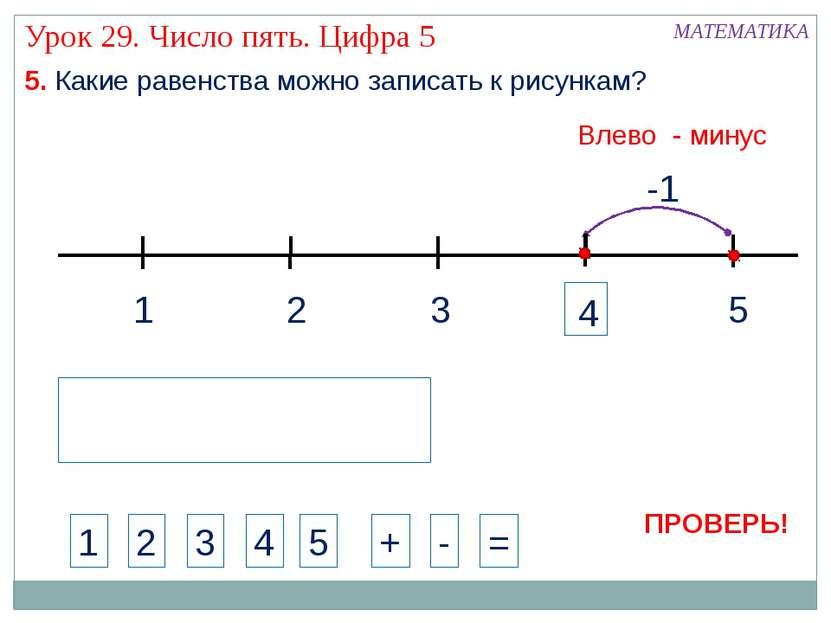 1 3 2 5 -1 МАТЕМАТИКА 1 2 3 4 + - = 5. Какие равенства можно записать к рисун...