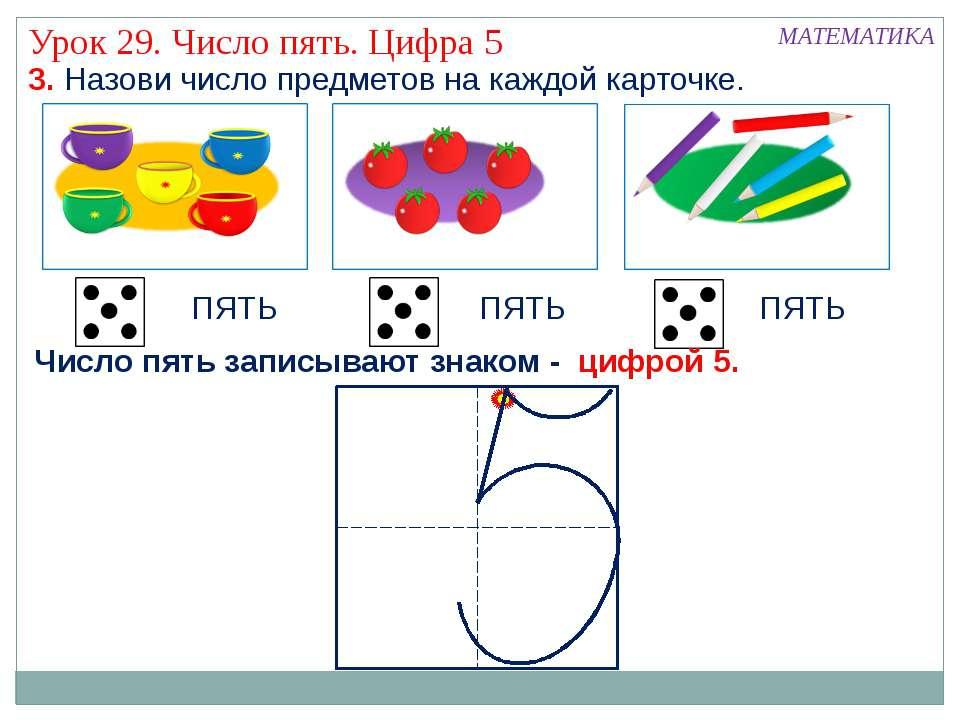 3. Назови число предметов на каждой карточке. ПЯТЬ ПЯТЬ ПЯТЬ МАТЕМАТИКА Урок ...