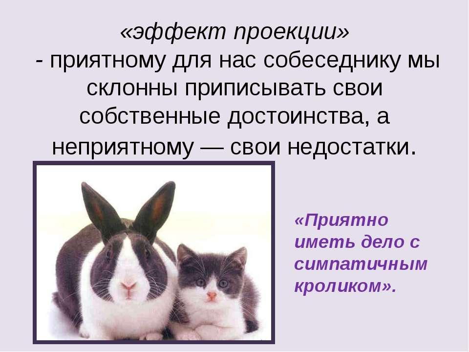 «эффект проекции» - приятному для нас собеседнику мы склонны приписывать свои...