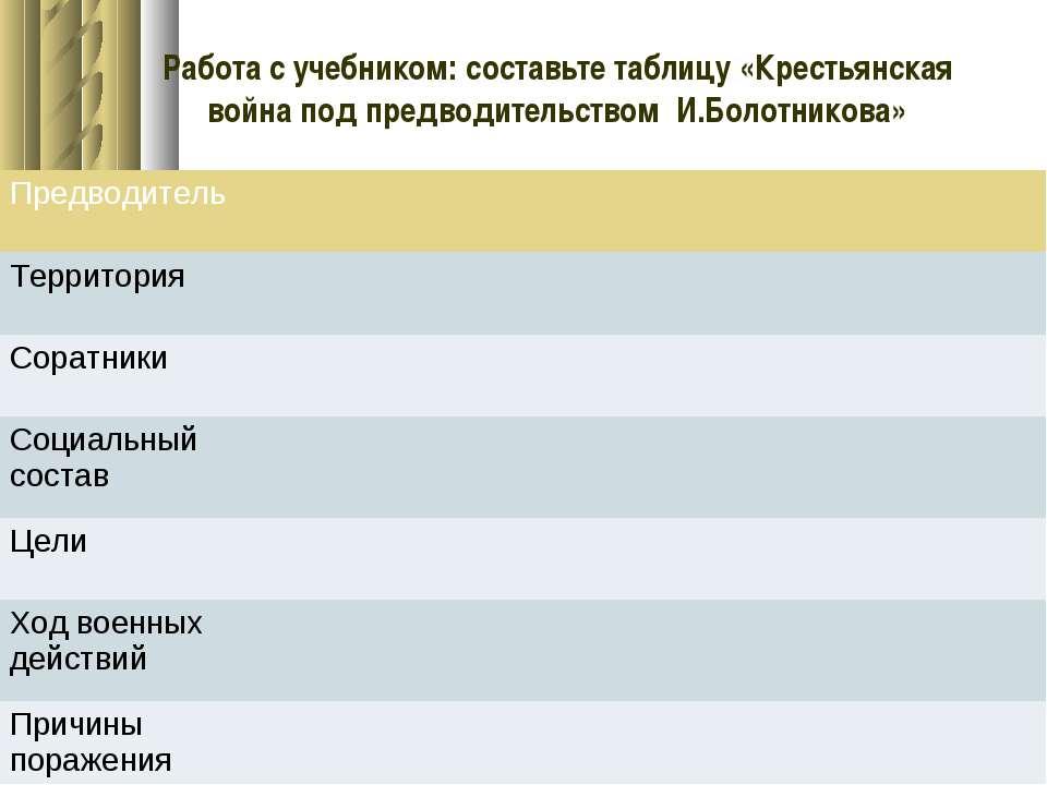 Работа с учебником: составьте таблицу «Крестьянская война под предводительств...