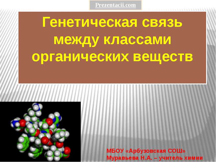 Генетическая связь между классами органических веществ МБОУ «Арбузовская СОШ»...