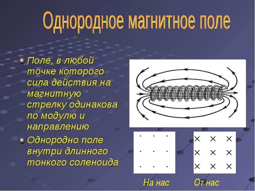 Поле, в любой точке которого сила действия на магнитную стрелку одинакова по ...