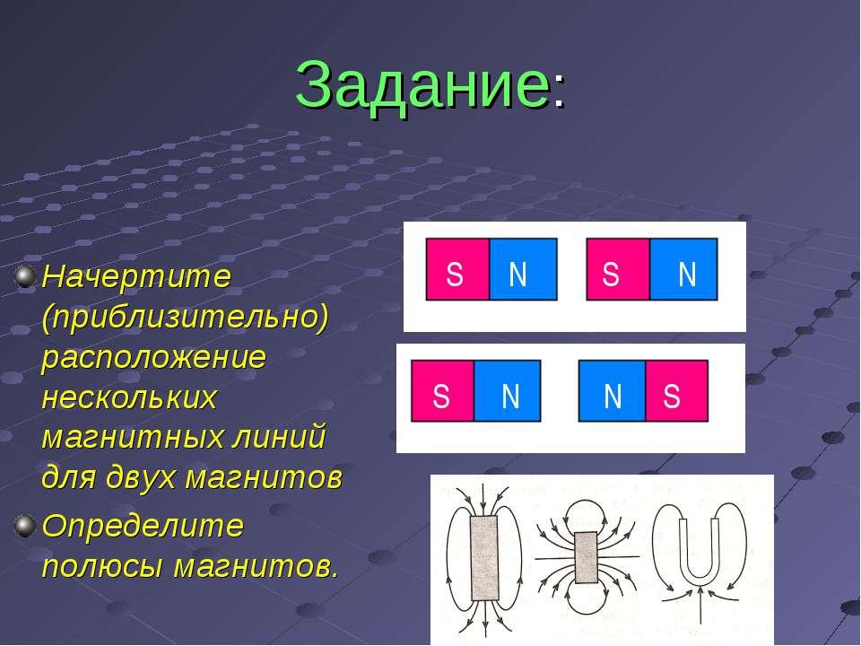 Задание: Начертите (приблизительно) расположение нескольких магнитных линий д...