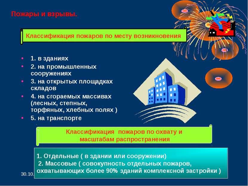 * * 1. в зданиях 2. на промышленных сооружениях 3. на открытых площадках скла...