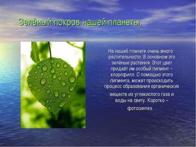 Зелёный покров нашей планеты. На нашей планете очень много растительности. В ...