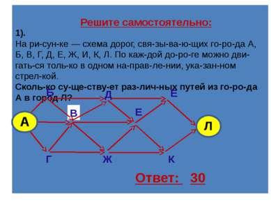 Задание на дом: На рисунке изображена схема дорог, связывающих города A, B, C...