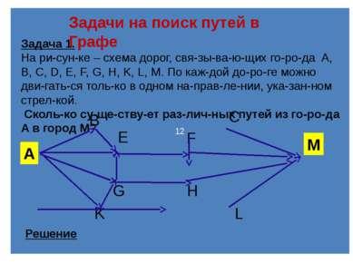 12 Задачи на поиск путей в Графе Задача 1. На ри сун ке – схема дорог, свя зы...