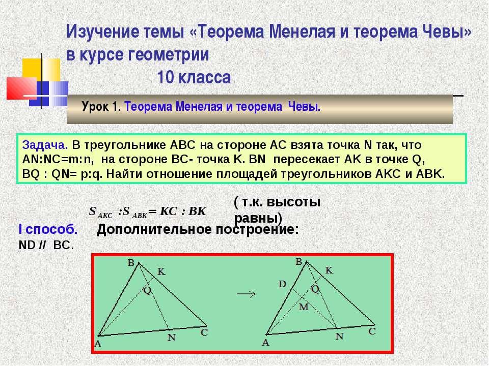 Изучение темы «Теорема Менелая и теорема Чевы» в курсе геометрии 10 класса Ур...