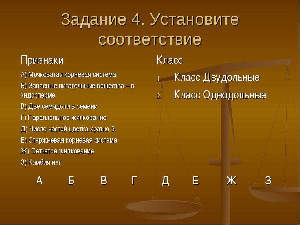 Задание 4. Установите соответствие Признаки Класс А) Мочковатая корневая сист...