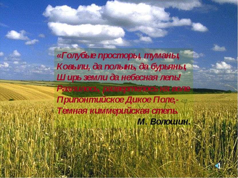 «Голубые просторы, туманы, Ковыли, да полынь, да бурьяны, Ширь земли да небес...