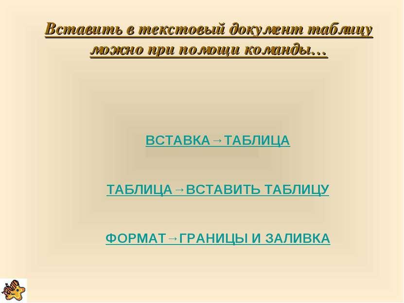 Вставить в текстовый документ таблицу можно при помощи команды… ВСТАВКА→ТАБЛИ...