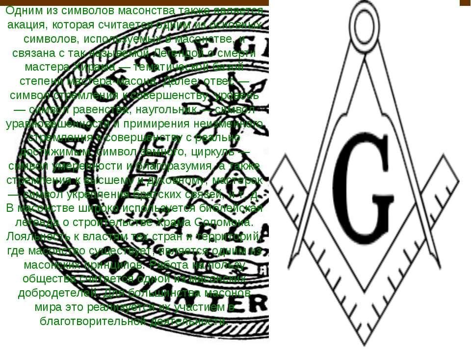 Одним из символов масонства также является акация, которая считается одним из...