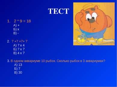 ТЕСТ 2 * 9 = 18 А) + Б) х В) - 2. 7 +7 +7+ 7 А) 7 х 4 Б) 7 х 7 В) 4 х 7 3. В ...