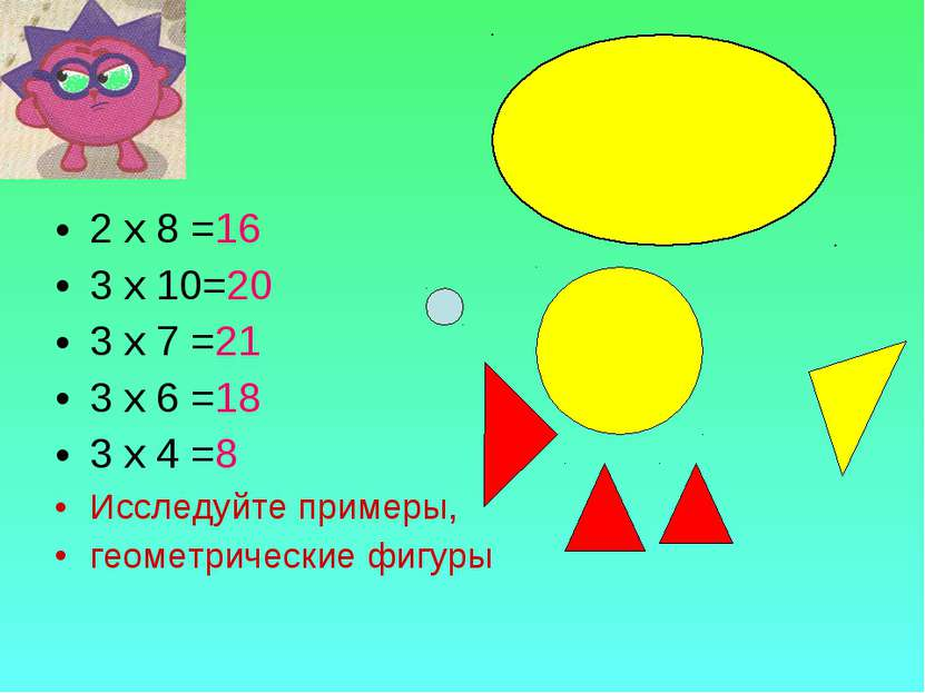 2 х 8 =16 3 х 10=20 3 х 7 =21 3 х 6 =18 3 х 4 =8 Исследуйте примеры, геометри...