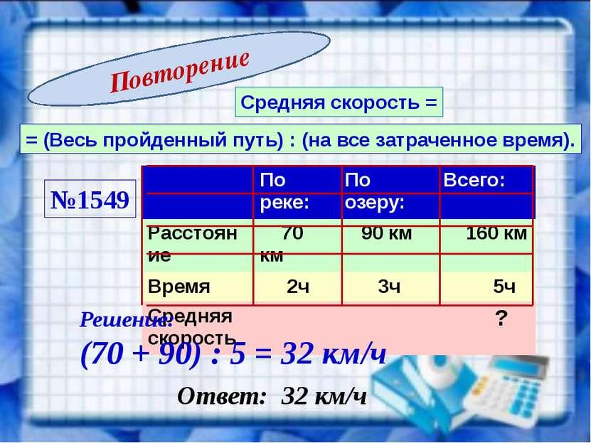 Средняя скорость = = (Весь пройденный путь) : (на все затраченное время). №15...