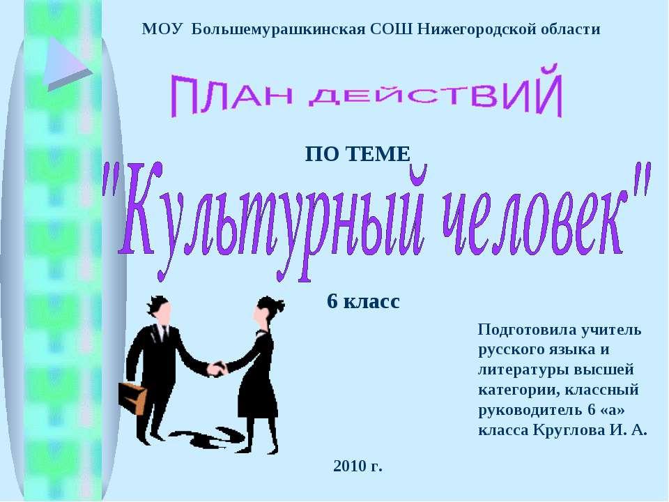 МОУ Большемурашкинская СОШ Нижегородской области ПО ТЕМЕ 6 класс Подготовила ...