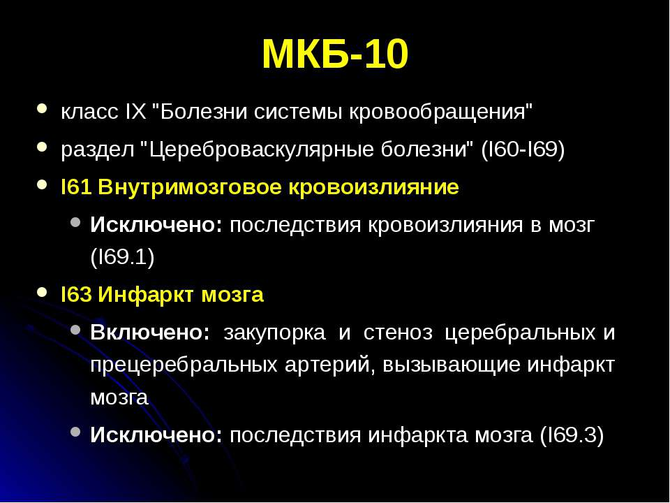 """МКБ-10 класс IX """"Болезни системы кровообращения"""" раздел """"Цереброваскулярные б..."""