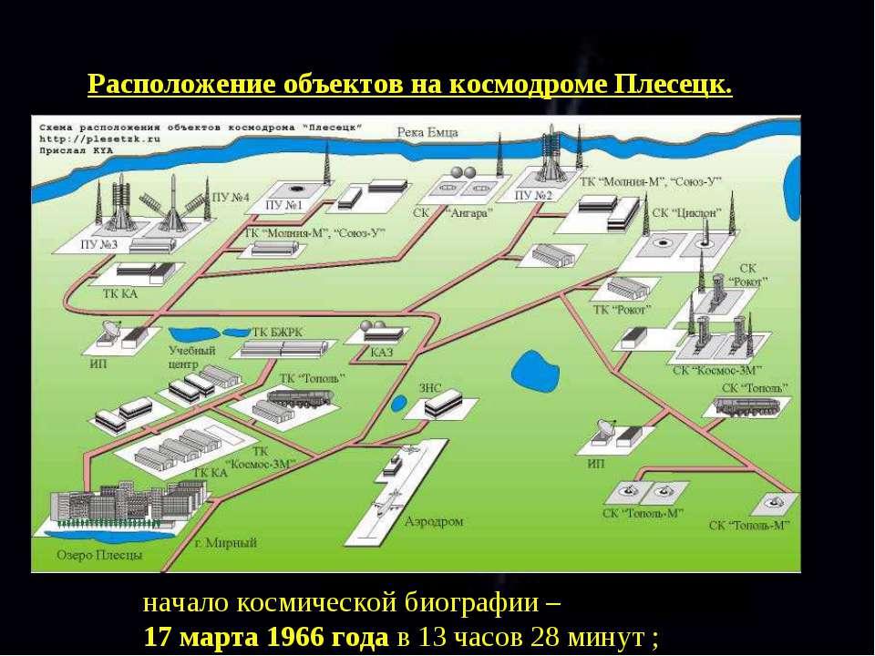 Расположение объектов на космодроме Плесецк. начало космической биографии – 1...