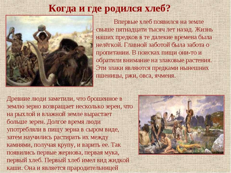 Впервые хлеб появился на земле свыше пятнадцати тысяч лет назад. Жизнь наших ...