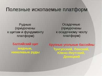 Полезные ископаемые платформ Рудные (приурочены к щитам и фундаменту платформ...