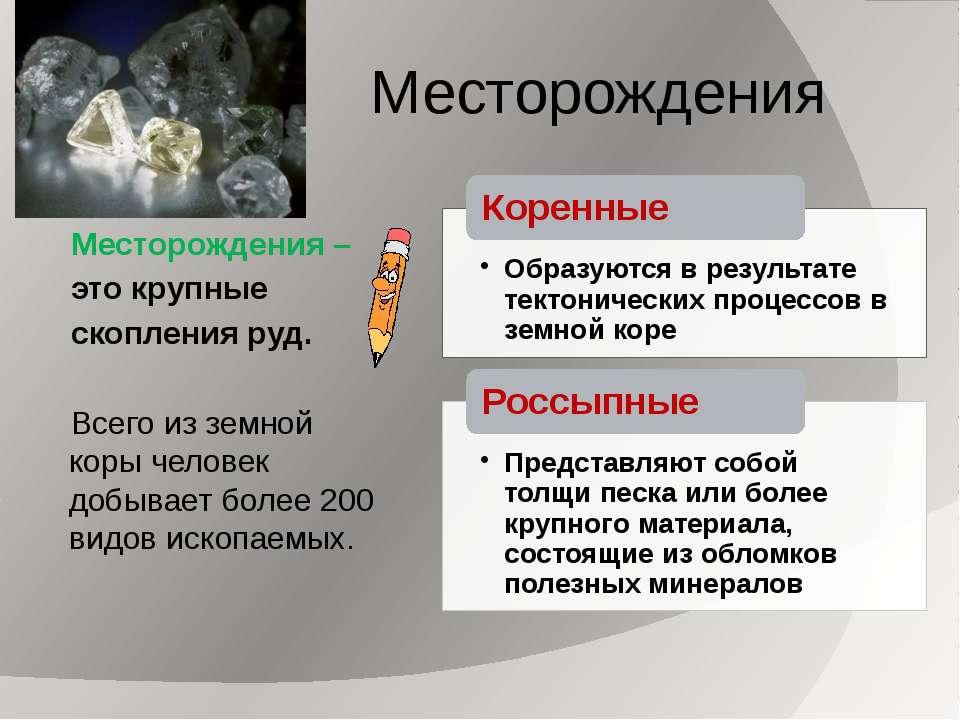 Месторождения – это крупные скопления руд. Всего из земной коры человек добыв...