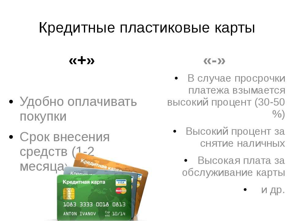 Кредитные пластиковые карты «+» Удобно оплачивать покупки Срок внесения средс...
