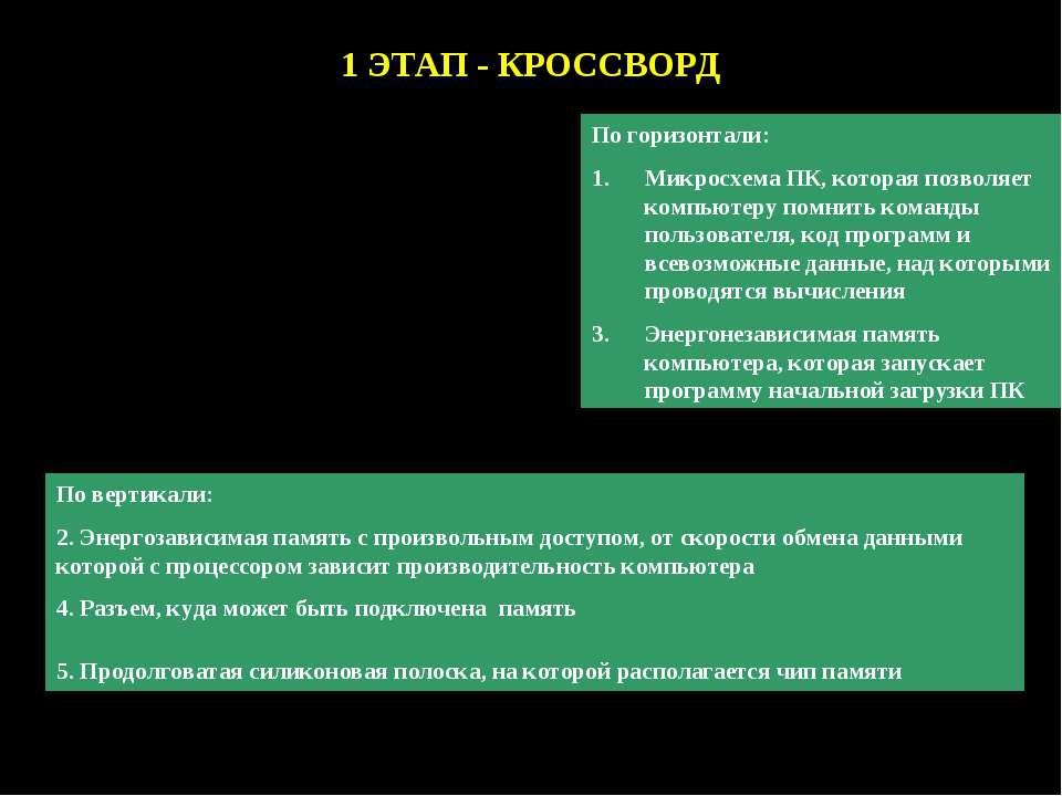 1 ЭТАП - КРОССВОРД По горизонтали: Микросхема ПК, которая позволяет компьютер...
