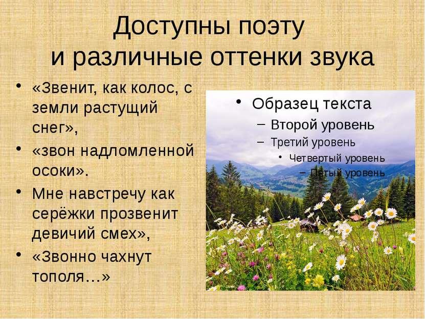 Доступны поэту и различные оттенки звука «Звенит, как колос, с земли растущий...