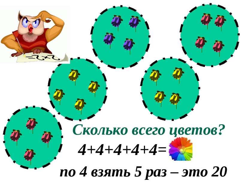 Сколько всего цветов? 4+4+4+4+4= 20 по 4 взять 5 раз – это 20