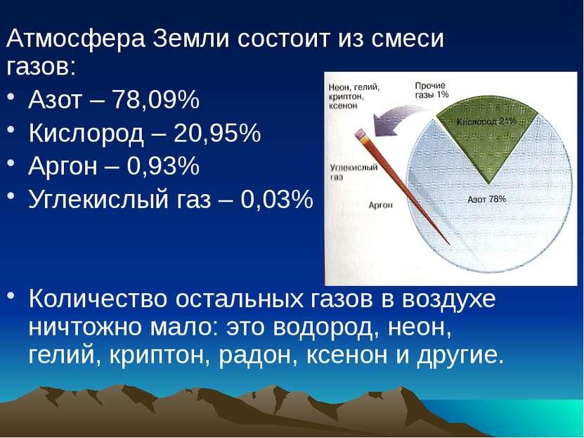 Атмосфера Земли состоит из смеси газов: Азот – 78,09% Кислород – 20,95% Аргон...