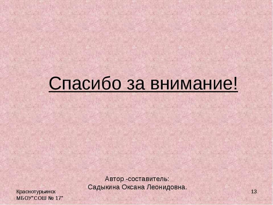 """Краснотурьинск МБОУ""""СОШ № 17"""" * Спасибо за внимание! Автор -составитель: Сады..."""