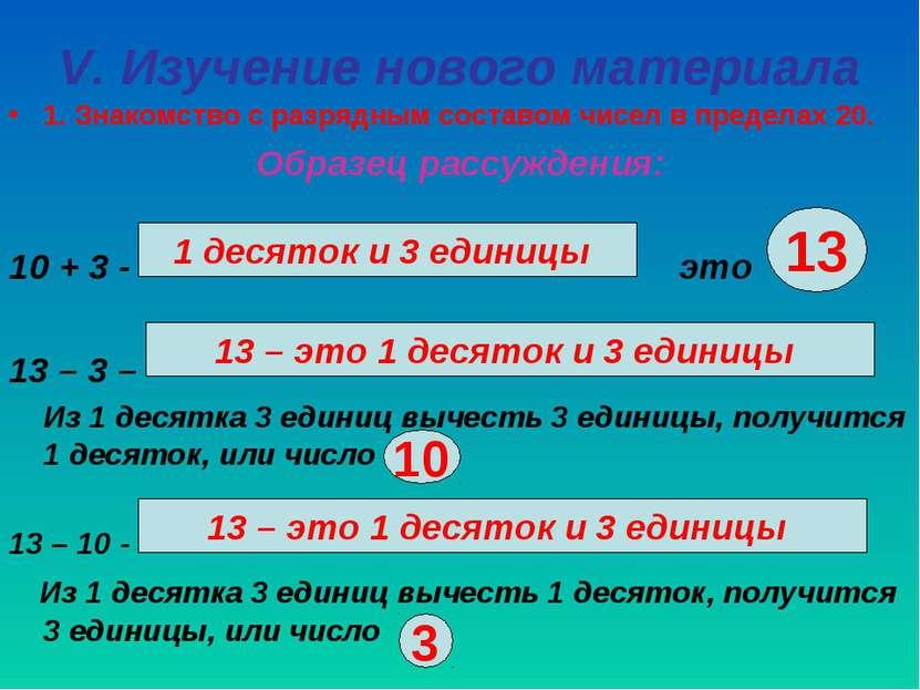 V. Изучение нового материала 1. Знакомство с разрядным составом чисел в преде...